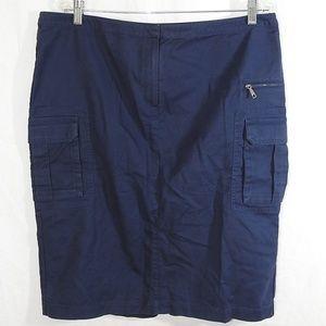 Lafayette 148 New York Blue Cargo Skirt Size 14